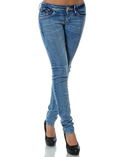 Damen Jeans Hose Skinny (Röhre) No 13829 Blau