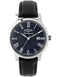 Rotary Men's Quartz Watch with Blue Dial Analogue Display and Black Leather Strap GS90075/05