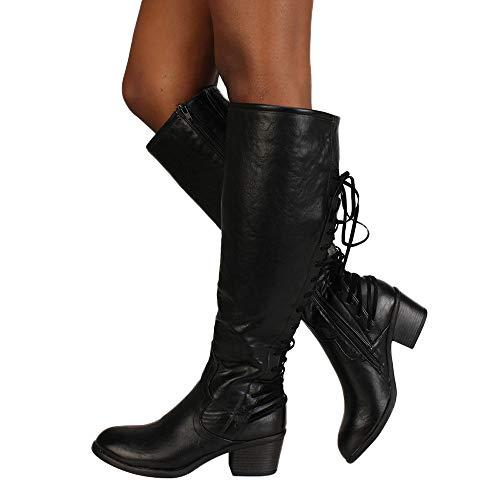 OSYARD Damen Schnürer Langschaftstiefel Seitlicher Reißverschluss Lederstiefel Sole Regenstiefel, Frauen Mode Leder Schnürschuhe High Heels Stiefel Winter Sexy Knie Stiefel (245/40, Schwarz) -