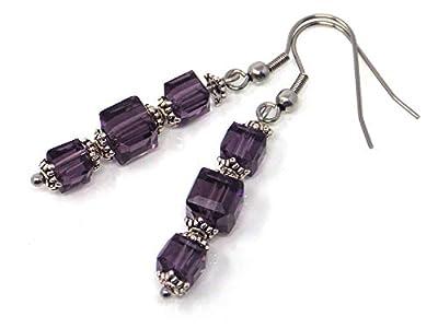 Boucles d'oreille violettes en verre et acier inoxydable