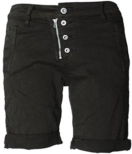 4 Hosen (Basic.de Bermuda-Shorts 4-Knopf mit Reißverschluss Schwarz S)