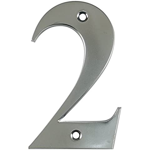 Beautiful 3, Cromo Satinato con Bordo Smussato–Numero 2–Vite porta anteriore numero civico