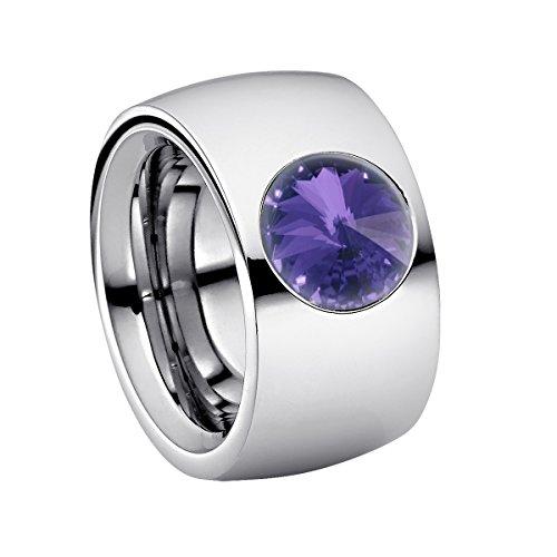 Coma 14 aus Edelstahl Silber farbend poliert Damenring für Frauen mit Swarovski Stein Kristall Tanzanite lila im Fantasie Edelsteinschliff 10mm ()