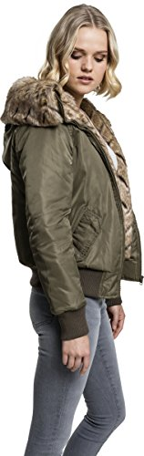 Urban Classics Damen Jacke Ladies Imitation Fur Bomber Jacket Grün (Darkolive 551)