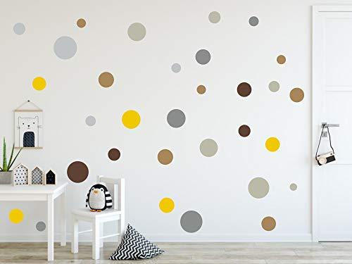 timalo® 120 Stück Wandtattoo Kinderzimmer Kreise Pastell Wandsticker - Aufkleber Punkte | 73078-SET10-120