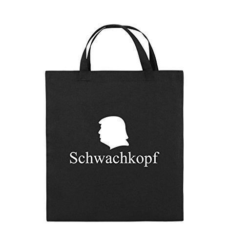 Comedy Bags - Schwachkopf - TRUMP - Jutebeutel - kurze Henkel - 38x42cm - Farbe: Schwarz / Silber Schwarz / Weiss