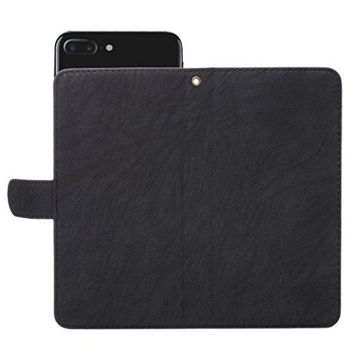 GHC Cases & Covers, A2 Universal Da Vinci Textur Horizontale Flip Ledertasche mit Crad Slots & Brieftasche & Foto Frame & Magnetic Gürtelschnalle & 18cm Lanyard für iPhone 7 Plus & 6s Plus & 6 Plus, S Black