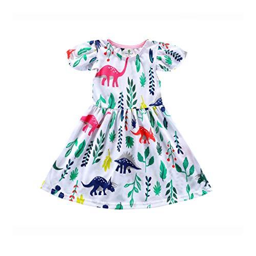 YUAN Mädchen Kleid, Kleinkind Baby Kid Blumen Rüschen Dinosaurier gedruckt Outfits Kleidung