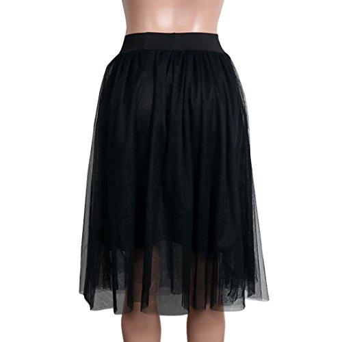 Kanpola Damen Tutu Rock Hohe Taille Plissee Kleider Mini Röcke (XL /Gr 42, Schwarz) (Mini-rock Karo)