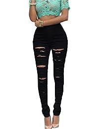 Cindeyar Ladies Skinny Ripped Jeans Stretch High Waist Jeans Skinny Jeans Stretchy Knee Ripped Cut Skinny Pencil Jeans