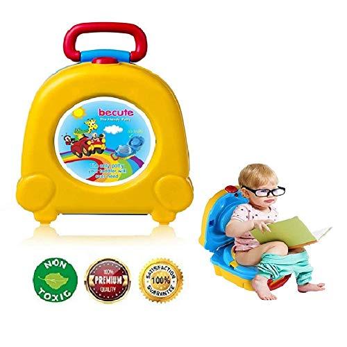 BeCute - Vasino portatile da viaggio per bambini, ragazzi e ragazze, per campeggio e viaggi in auto, per bambini e bambine, con strategia di addestramento al vasino taglia unica Yellow