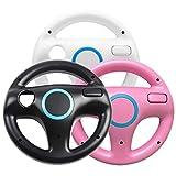 Generic 3 x Nero Bianco Rosa Volante Mario Kart Racing Wheel per Nintendo Wii Remote Game