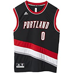adidas Portland Trail Blazers Lillard Camiseta, Hombre, Negro / Rojo / Gris / Blanco, L