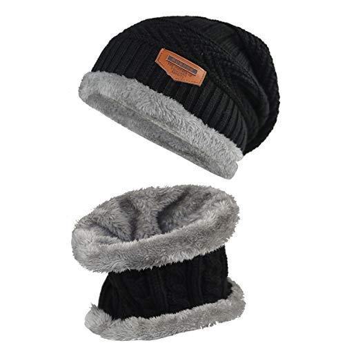 Momoon Dicke Beanie Hut +Schal Set Winter Warmen Schnee Knit Skull Cap für Kinder Jungen Mädchen(Suitable for 6-14, Schwarz, one size(fit teenager 6-14) -