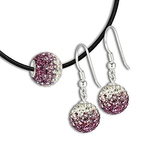 SilberDream Glitzer Set Kette mit Swarovski Elements Kristalle Beads & Ohrring Swarovski Elements Kristalle GSS015