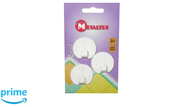 Metaltex 291004/Set di 3 Ganci Adesivi Rotondi Grandi in plastica Colore Bianco