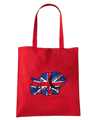 T-Shirtshock - Borsa Shopping TSTEM0258 union jack brit bulldog tshirt Rosso