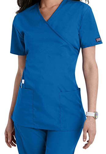 Mock Wrap (Smart Uniform Women's 1224 Scrub Modern Fit Mock Wrap Top (XXL, Blau [Blue] 1))