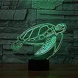 3D Schildkröten Illusions LED Lampen Tolle 7 Farbwechsel Acryl Berühren Tabelle Schreibtisch-Nacht licht mit USB-Kabel für Kinder Schlafzimmer Geburtstagsgeschenke Geschenk.