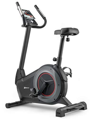 Hop-Sport Heimtrainer Ergometer HS-100H Fitnessbike inkl. Unterlegmatte Bluetooth Smartphone Steuerung 32 Widerstandsstufen 12 Programme WATT HRC BMI Schwungmasse 14 kg belastbar bis 150 kg