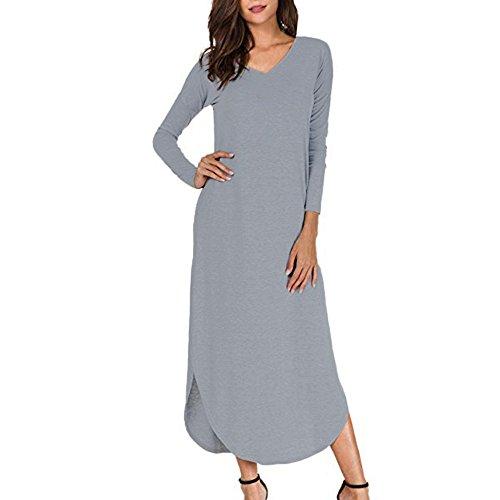 Damen Sommerkleid Casual V-Ausschnitt Kurzarm Split Lange Maxikleid Strandkleid Kleider SANFASHION