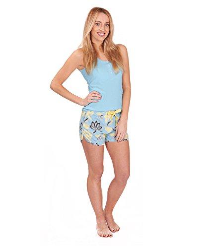 Short pour femme Haut de pyjama pyjama avec bas de survêtement pour femme Bleu - Bleu