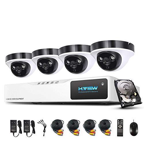 1080P Überwachungskamera System H.View 4CH AHD DVR und 4 Außen 1080P Dome Überwachungskamera Set für Innen und Außen 1TB Festplatte Bewegungsmelder IR Nachtsicht (Ipad Rca-eingang Des)