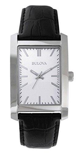 Bulova Corporate Collection Men's Rectangular Dial Black Strap Watch 96A156 image