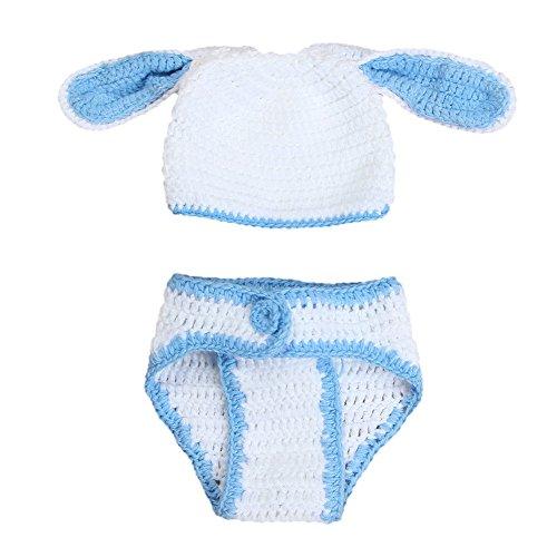 Deylaying Neonato Crochet Coniglio Maglia Costume Fotografia Puntelli Foto Fatto a Mano per 0-6 Mesi Babies
