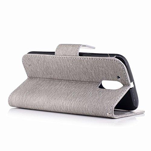 Yiizy Motorola Moto G4 Custodia Cover, Fiore Di Farfalla Design Sottile Flip Portafoglio PU Pelle Cuoio Copertura Shell Case Slot Schede Cavalletto Stile Libro Bumper Protettivo Borsa (Grigio) Grigio