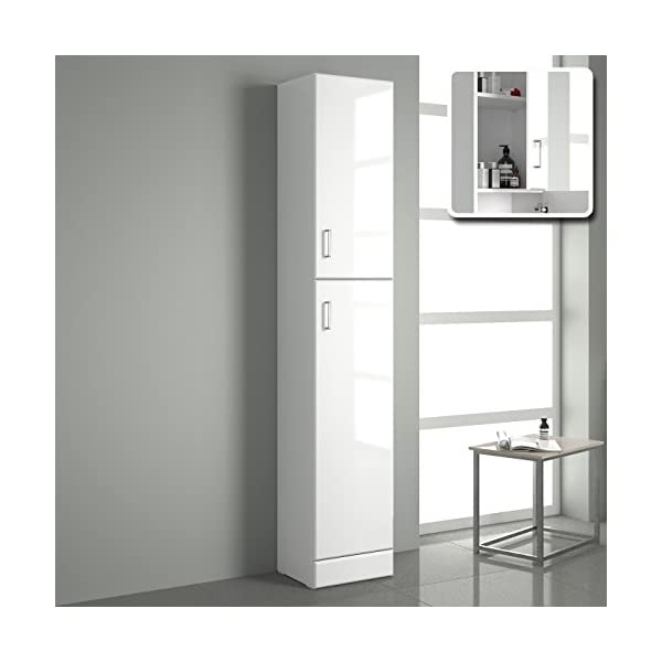 1900mm Tall Gloss White Bathroom Cupboard Reversible Storage Furniture Cabinet HGW300TWU 410PmQE4OqL