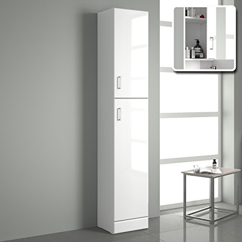Tall gloss white bathroom cupboard reversible storage for White gloss kitchen wall cupboards