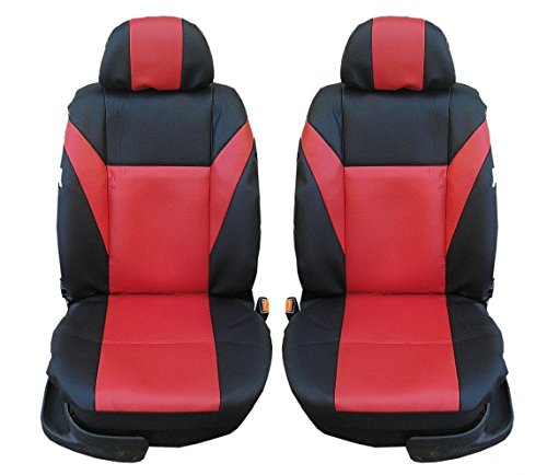 2 vordere Auto Sitzbezug Sitzbezüge Schonbezüge Schonbezug Universal Kunstleder Schwarz-Rot