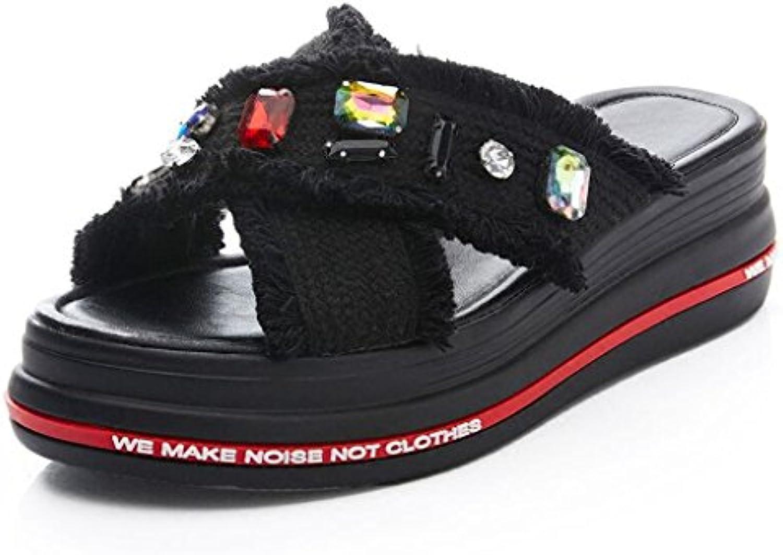 JIU Sandalias Zapatos de tacón grueso Parte superior de tela transpirable Punta abierta zapatillas Hembra verano...