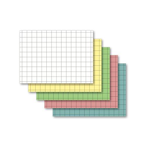 Karteikarten 500 Stück A6 kariert farbig sortiert (5 Farben je 100 Stück)