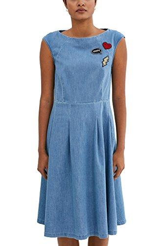 edc by ESPRIT Damen A-Linie Kleid 037CC1E028, Knielang, , , , Gr. 36 (Herstellergröße: S), Blau (Blue Medium Wash (Kleid Schickes Sportlich)