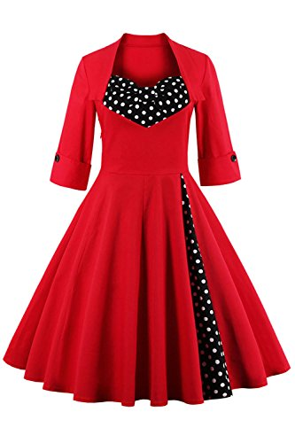 Babyonline Rockabilly 50er Polka Dots Punkte 1950er Kleid Petticoat Faltenrock L