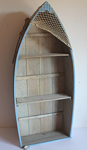 AAF Nommel ® Boot Regal 101 x 45 x 15 cm, Kiefernholz, Maritim Dekor im Shabby Look, Nr. 010