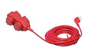 Unitec 44550 Bloc multiprise avec 4 prises, câble H05VV-F 3G1,5 mm² et protection IP40 Rouge 10m