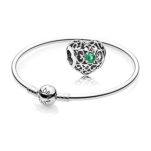 [A] Original Pandora Geschenkset - 1 Silber Armreif 590713-17 + 1 Silber Charm 791784NRG Mai-Herz