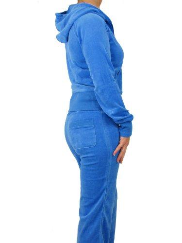 Love Lola Ensemble de jogging en velours avec capuche pour femme Bleu - Bleu ciel