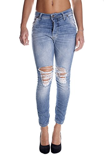 JEANS DONNA PLEASE P25 BAGGY STRAPPATO CAVALLO BASSO 3 BOTTONI MADE IN ITALY P/E 2015 (M (GIROVITA 73 cm))