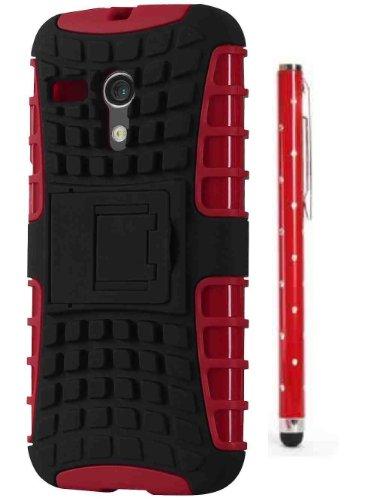C63 - MOTO G cellulare robusta cover a doppio strato Defender per MOTO G - rosso/nero con lussuose rosso pennino