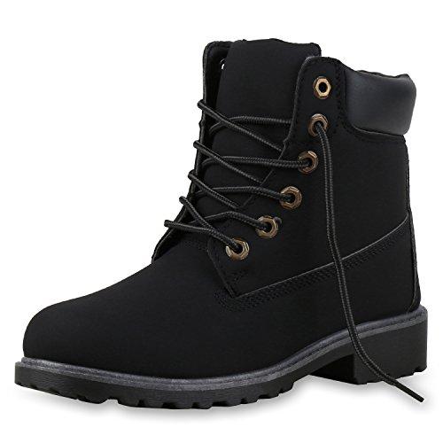 napoli-fashion Damen Herren Schuhe Kinder Schuhe Stiefeletten Worker Boots Outdoorschuhe Schnürstiefel VanHill Schwarz Black