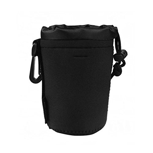 Price comparison product image Gemini_mall® Neoprene Waterproof Lens Case Lens Pouch Protector Bag for Sony Canon Nikon Pentax Olympus Panasonic (M,  Black)
