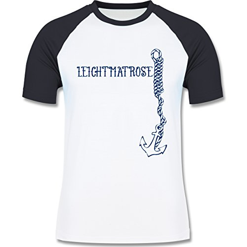 JGA Junggesellenabschied - Leichtmatrose Anker - zweifarbiges Baseballshirt für Männer Weiß/Navy Blau
