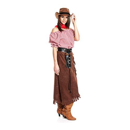 Kostümplanet® Cowgirl Kostüm Damen + extra Halstuch Cowgirlkostüm Cowboy Kostüm Damen Größe 40/42