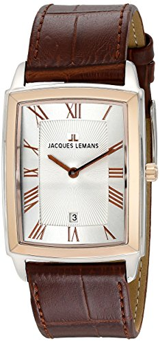 Jacques Lemans Bienne 1-1611D Men's Brown Leather Strap Watch