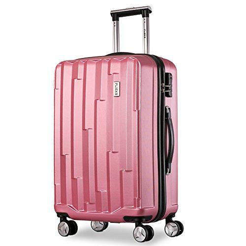 Flieks Hartschale Trolley Koffer Reisekoffer Zwillingsrollen Reisekoffer mit Zahlenschloss Handgepäck mit 4 Doppel-Rollen, XL-L-M (Pink, XL)