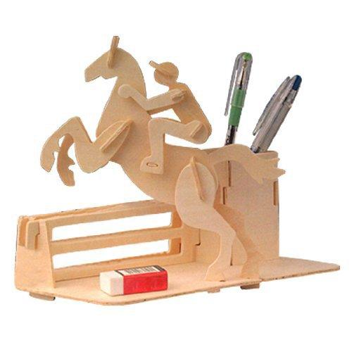 Gleader equitazione di salto puzzle 3d diy in legno portapenne